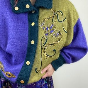 Vintage Mohair Embroidered Color Blocked Cardigan